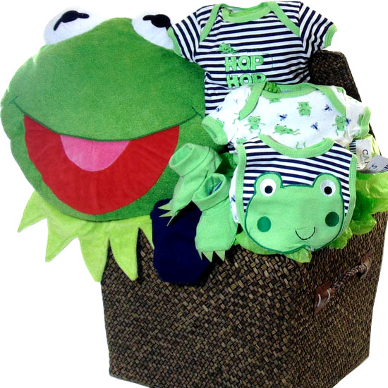 Green Frog Baby Basket